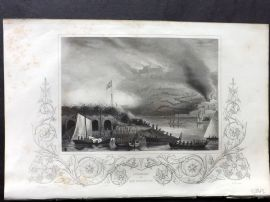 Tallis (Pub) 1854 Antique Print. Storming of San Sebastian, Spain